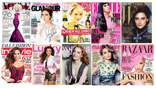 September 2012 Fashion Magazine Covers - Vogue, InStyle, Harper's Bazaar, Cosmopolitan, People StyleWatch...