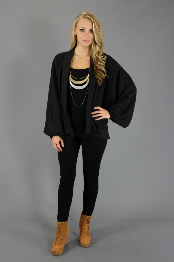 Gypsy Junkies Black Chiffon Drape Cardigan Outfitted