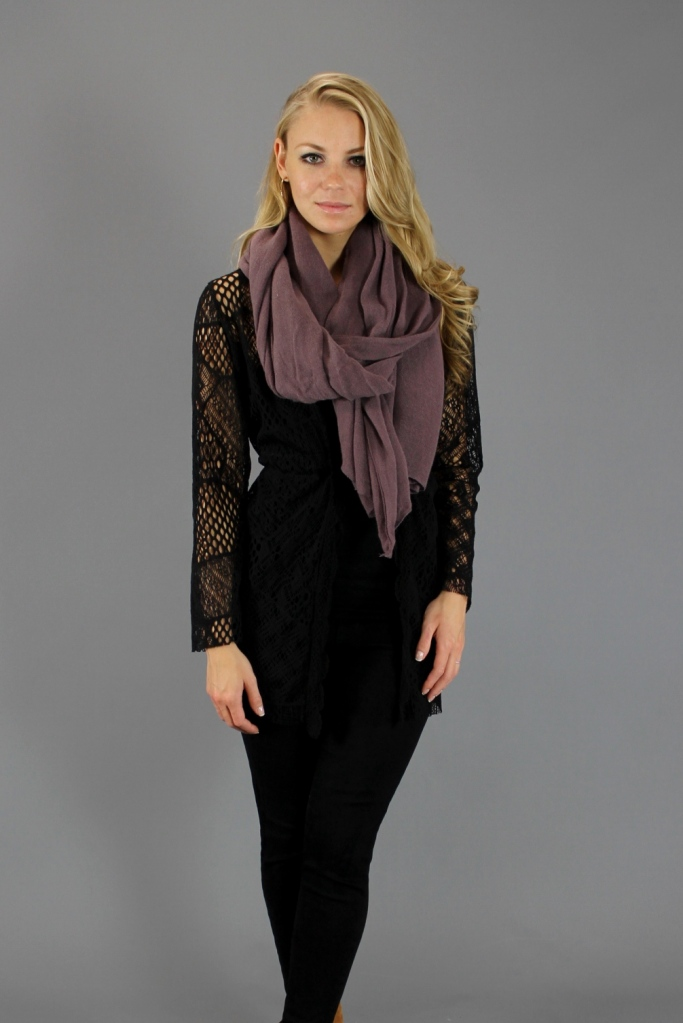 Gypsy Junkies Black Patchwork Lace Cardigan & Lilac Scarf