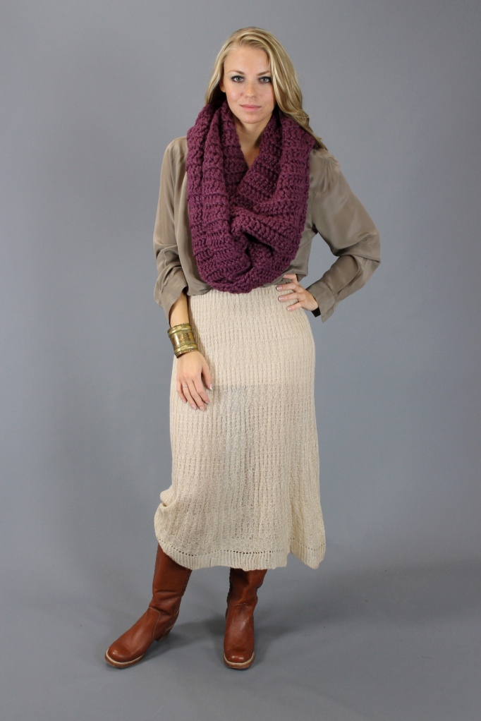 Gypsy Junkies Ivory Gauzy Knit Dress Styled into Fall